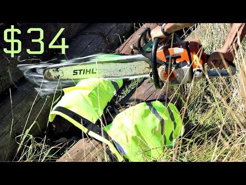 Testing The Cheapest Chainsaw Chaps on AMAZON - YouTube