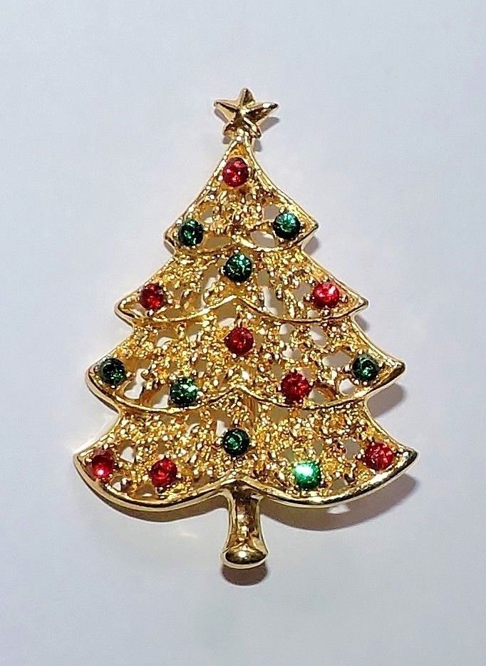 2796 Vtg Signed 46047 Goldtone Rhinestone Figural Christmas Tree Pin Brooch 46047 Christmas Jewelry Jewelry Stores Near Me Bollywood Jewelry