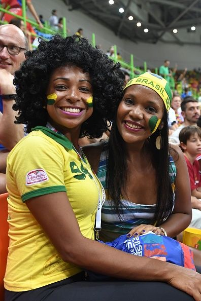 Brazilian fans pose before the men's preliminaries Group B handball match Poland vs Brazil for the Rio 2016 Olympics Games at the…