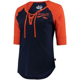 Women's Denver Broncos Touch by Alyssa Milano Navy/Orange Perfect Game Lace Up 3/4-Sleeve Raglan T-Shirt