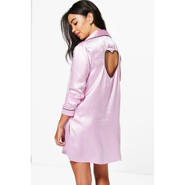 Boohoo Boutique Penny Satin Cut Out Heart Button Night Shirt ($20) ❤ liked on Polyvore featuring intimates, sleepwear, nightgowns, satin nightdress, satin nightie, satin night shirt, satin sleepshirt and night shirt