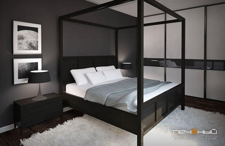 Дизайн спальни, дизайн спальни в стиле лофт, дизайн черной спальни, спальня лофт