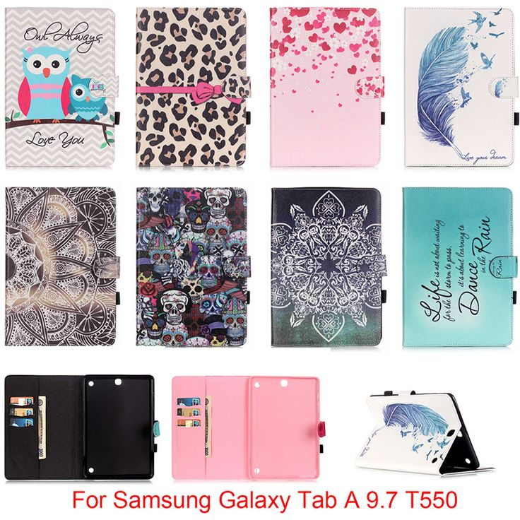 For Samsung Galaxy Tab A 9.7 SM-T550 T550 T551 T555 Case Owl Mandala Flower Skull Pattern Folio PU Leather Protector Back Cover