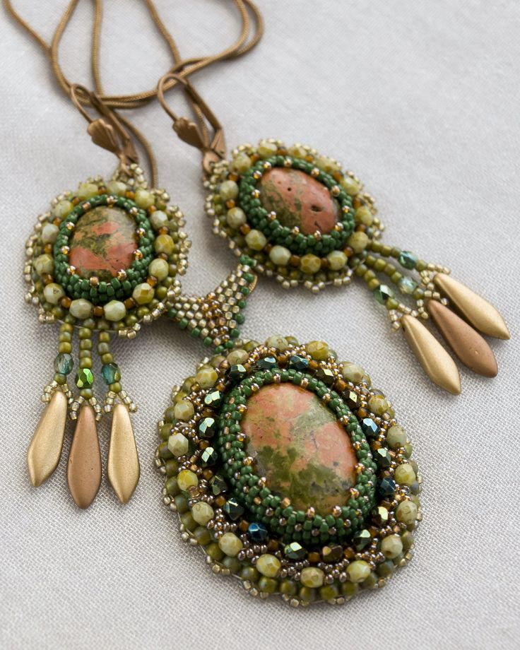 Bead embroidery handmade jewelry, green oval necklace with unakite, Bead embroidery earrings