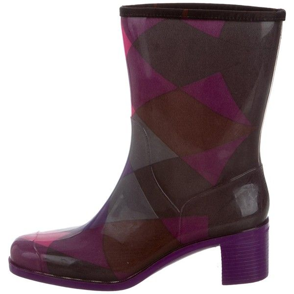 Pre-owned Emilio Pucci Mid-Calf Rain Boots (78.285 CLP) ❤ liked on Polyvore featuring shoes, boots, purple, wellington boots, rubber boots, emilio pucci boots, multi colored boots and mid calf boots