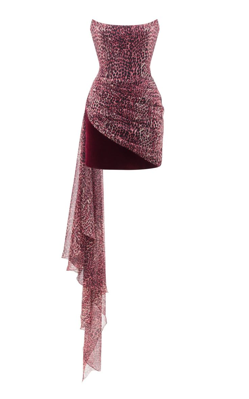 Draped Leopard Print Chiffon And Velvet Corset Mini Dress by Rasario PF19 | Moda... 3