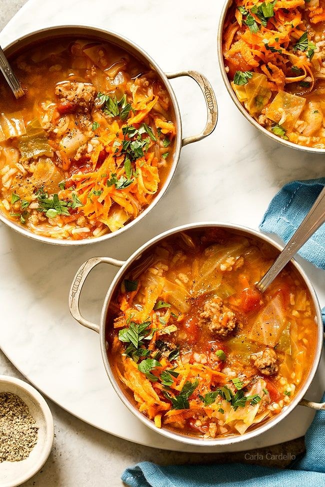 Stuffed Cabbage Soup has the same ingredients as stuffed cabbage rolls - ground beef, rice, tomatoes, and cabbage - minus the extra time and effort to assemble them. Made with @veeteeusa rice