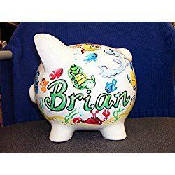 Personalized Handpainted Sea Creatures Design Piggy Bank