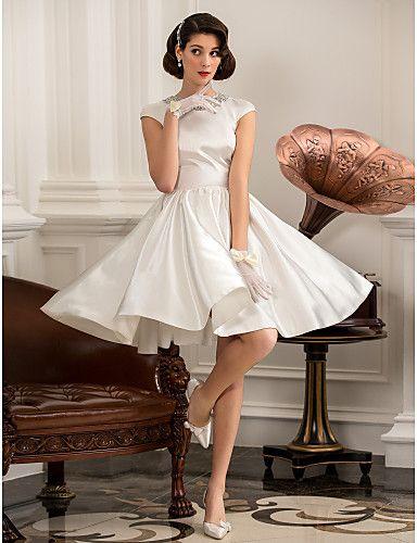 >> Click to Buy <<  Vestidos De Novia Wedding Dresses 2017 Simply Sublime O-neck Short Sleeve Satin Reception Little White Dresses Robe De Mariage #Affiliate