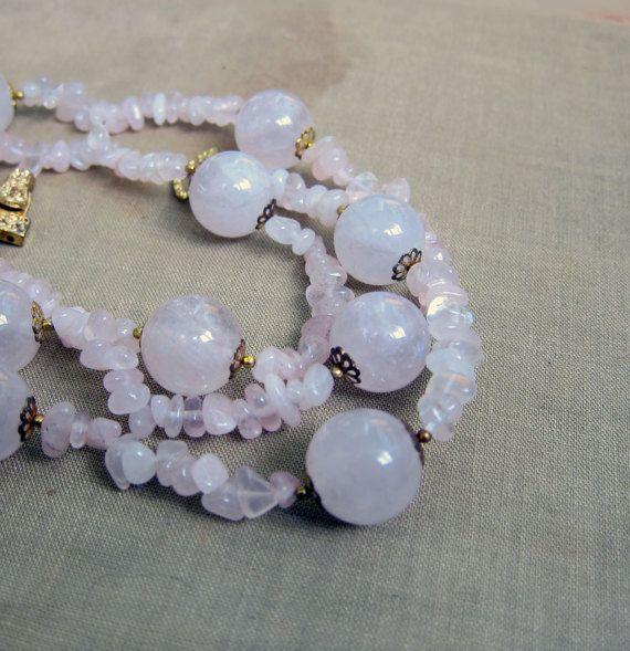 Pink Rose Quartz Vintage Bead Necklace 32 Inches Long Clasp