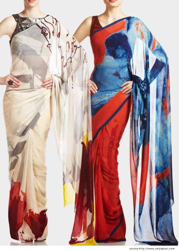 Satya Paul Sarees - Printed Designer Sarees, Black Blouse Design