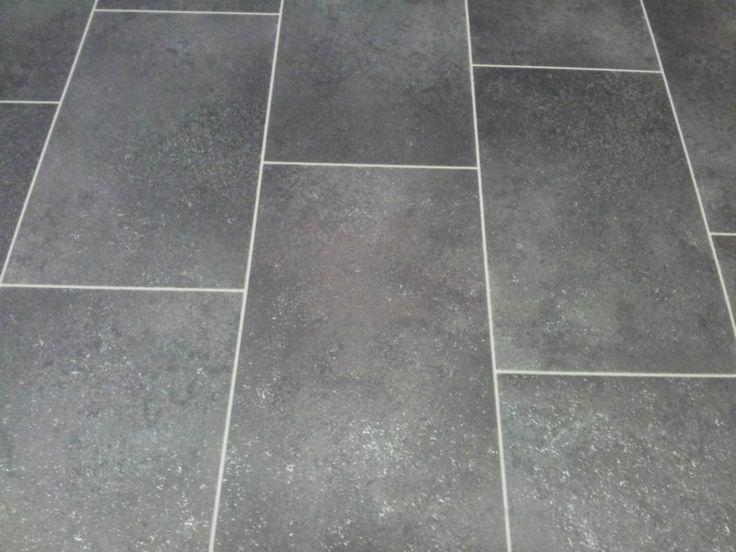 Click vinyl floor tiles black tile effect cushion floor for Black tile effect vinyl flooring