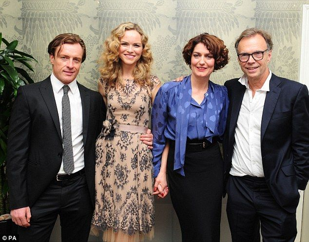 On a high: The leading actors were joined by co-star Anna-Louise Plowman and director Jonathan Kent, who met up with their friends and family