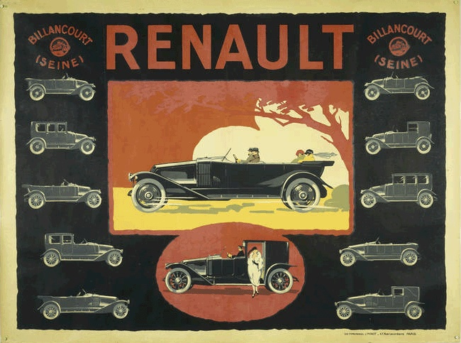 1913 affiche publicitaire pour les voitures renault publicit s voitures de marques. Black Bedroom Furniture Sets. Home Design Ideas