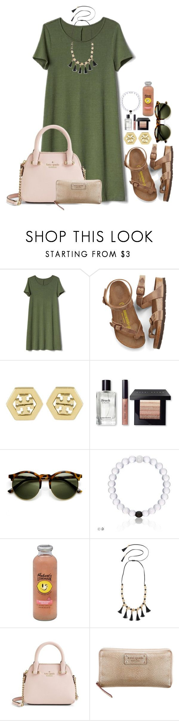 """Who's wearing green tomorrow!"" by flroasburn ❤ liked on Polyvore featuring Gap, Birkenstock, Tory Burch, Bobbi Brown Cosmetics, Hansen and Kate Spade"