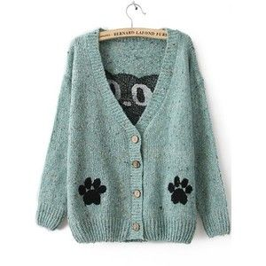 Blue Long Sleeve Cat Print Cardigan Sweater
