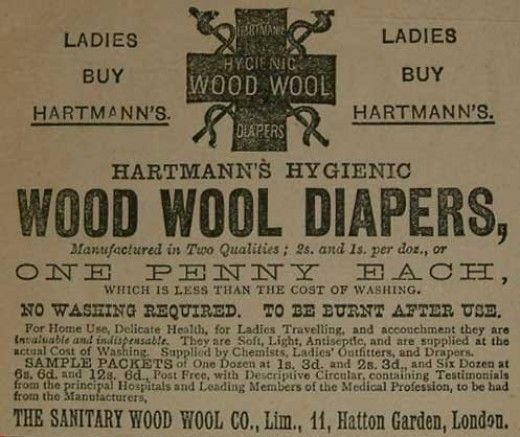 UK ad of Hartmann's disposable menstrual napkin, about 1888 ~ Pinned by Pink Pad, the women's reproductive health and fertility tracker with the built-in community.