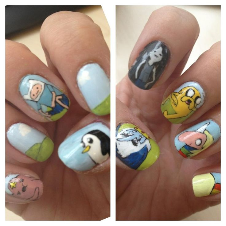 Adventure time nails, time to get Ashlyn and Abbie