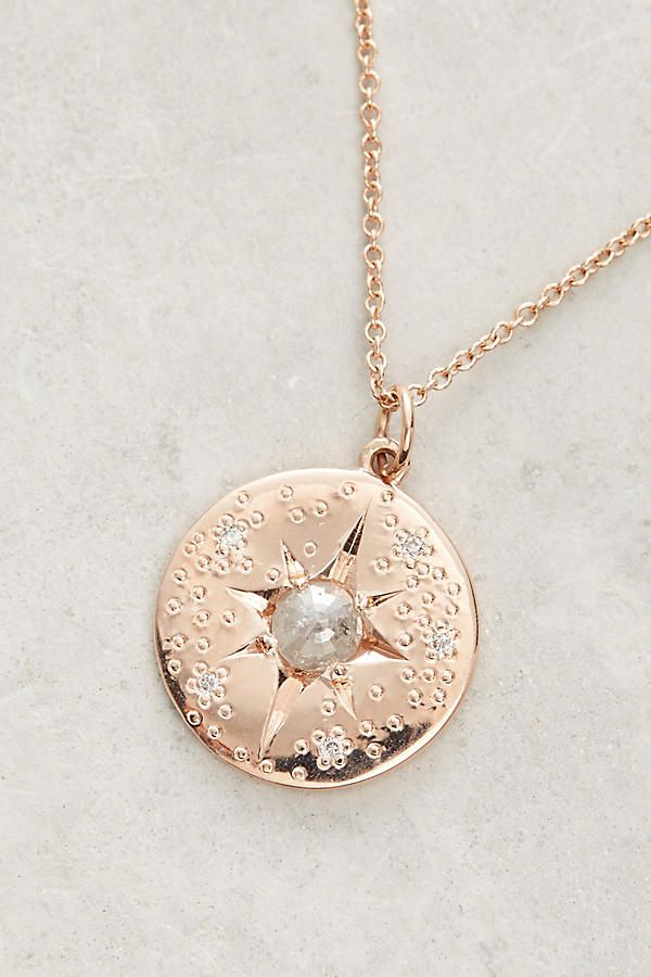 Slide View: 2: Grey Diamond Starburst Pendant Necklace