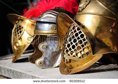 Three ancient helmet