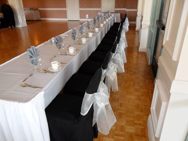 Black Chair Covers Available For Rent With Silver Organza Bows In Balboa    Special Event Linens