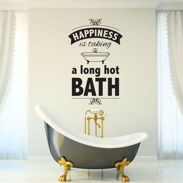 bathroom wall sticker happiness is bath vintage retro decal vinyl transfer