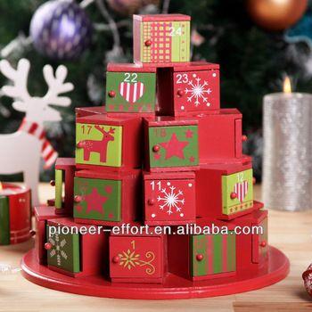 Wooden Christmas advent calendar gift box