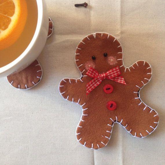 Pan di zenzero feltro coaster decorazione di di LaTanaDiOtto