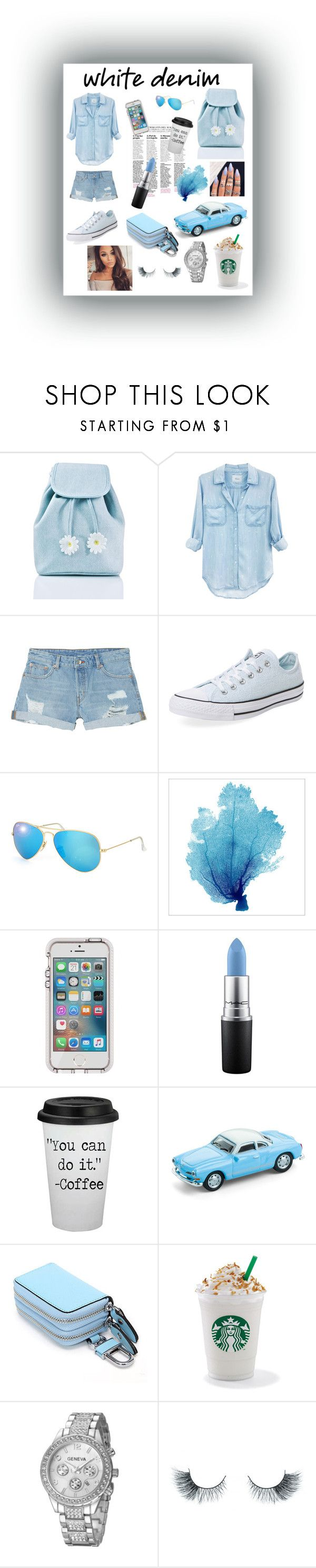 """White denim!💙"" by pizzapuppy19 ❤ liked on Polyvore featuring Sugarbaby, Rails, Monki, Converse, Ray-Ban, MAC Cosmetics and Unicorn Lashes"