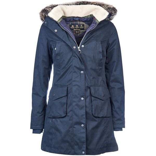 Women's Barbour Haslingden Jacket - Navy ($330) ❤ liked on Polyvore featuring outerwear, jackets, waterproof parka, navy parka jacket, navy parka, barbour jacket and blue parka