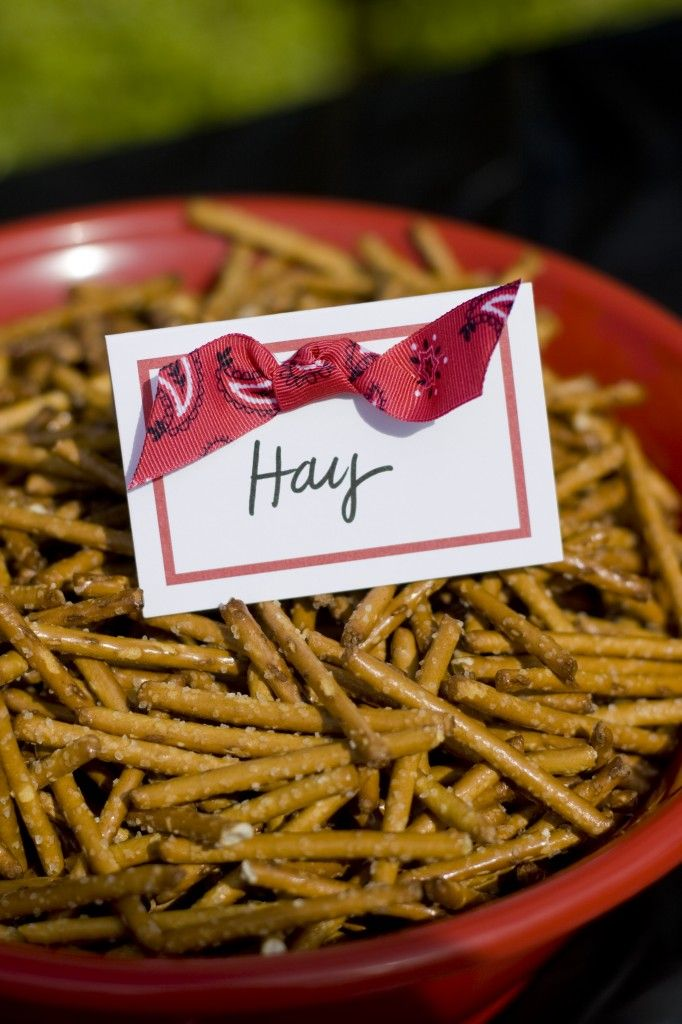 use pretzel stick pieces to make 'hay' or we can fine a dessert that looks like hay bales that would be cute