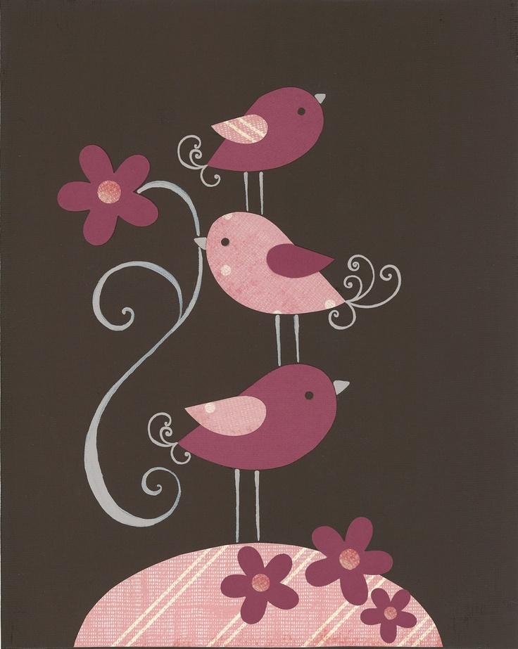 Pink Brown Bird Nursery, Pottery Barn Penelope bedding, Kids wall art, Children's room decor, nursery art prints, baby decor, baby art. $17.00, via Etsy.