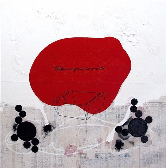 #ArnoldMarioDall´O - Before we grow old and die, 2010, Malerei auf Leinwand und Papier, Harz / pittura su tela e carta, resina, 135x135x5 cm