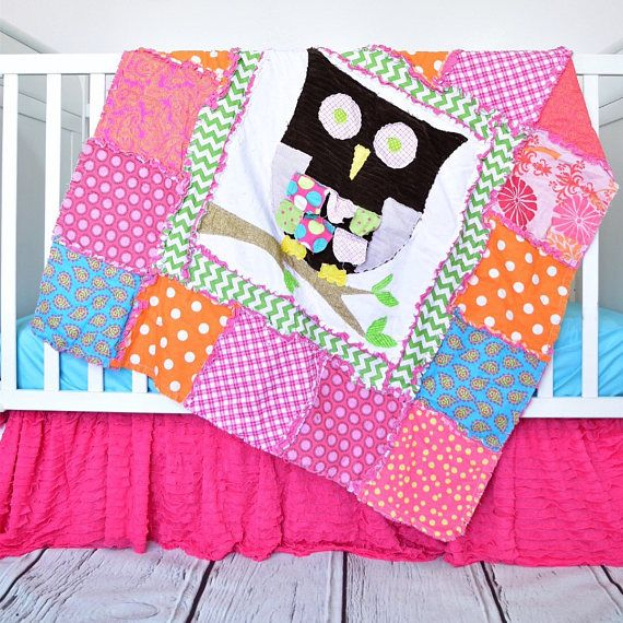Woodland baby girl nursery bedding with pink owl crib bedding quilt. Orange owl baby blanket. Pink baby girl nursery bedding. This pink, green, orange, and turquoise owl appliqued rag quilt is the perfect blanket for your baby girls crib or mini crib. The applique owl have a vintage