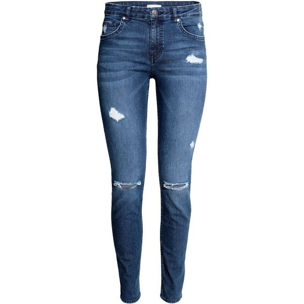 Skinny Regular Jeans $29.99 ($30) ❤ liked on Polyvore featuring jeans, pants, bottoms, calça, h&m, super skinny ripped jeans, blue jeans, torn skinny jeans, dark denim skinny jeans and destroyed skinny jeans