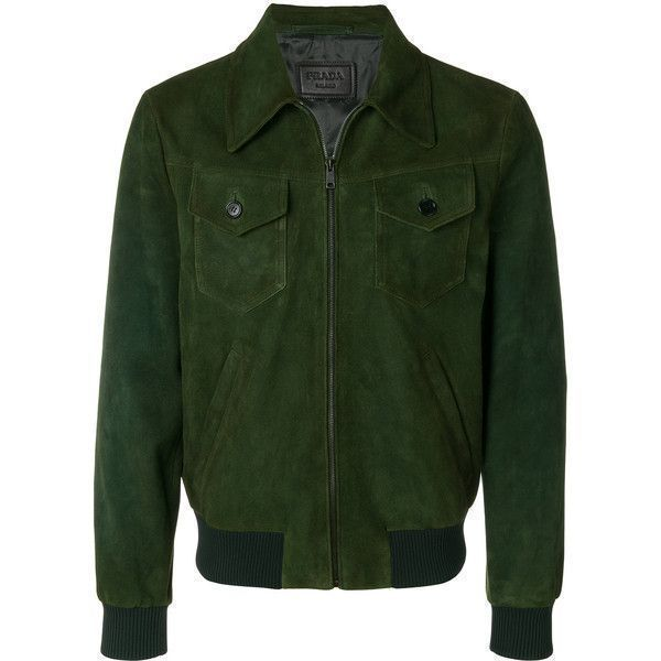 Prada leather bomber jacket ($3,199) ❤ liked on Polyvore featuring men's fashion, men's clothing, men's outerwear, men's jackets, green, mens green bomber jacket, mens real leather jackets, prada mens jacket, mens leather bomber jacket and mens green jacket