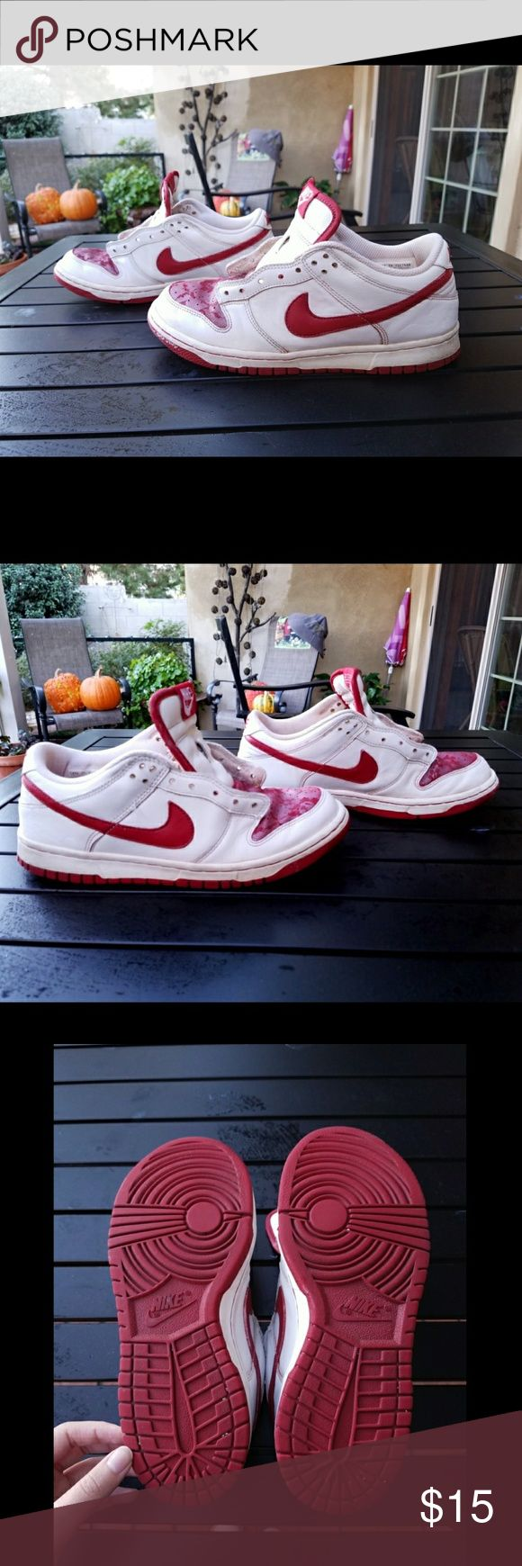 """"""" Rose Lace """" Design Nike Shoes 🍉MAKE AN OFFER!🍎 I got these from Savers, used them once and cleaned / disinfected them as best as I could several times over (thanks to the power of Google). I cleaned and washed the removable insoles too. As seen in the picture There was one dirt stain I couldn't quite scrub out. I will give it one more thorough cleaning before shipping it off. I forgot to take pictures with the shoelaces, I'll do that soon! These still have a lot of life in them! Good for…"""