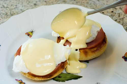 Eggs Benedict - with real Hollandaise sauce.  How many miles do I have to run to work this off??