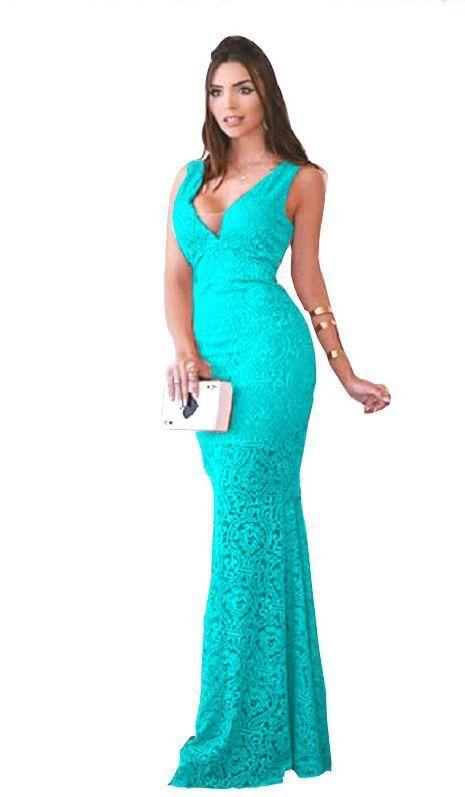 9892c043f Vestido Azul Tiffany Longo Festa Formatura Madrinha de casamento em ...