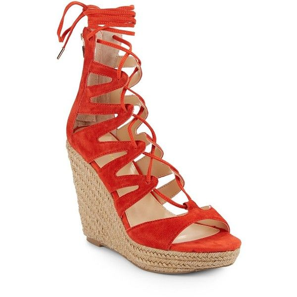 Saks Fifth Avenue Chelsea Suede Lace-Up Espadrille Wedges ($45) ❤ liked on Polyvore featuring shoes, sandals, suede wedge sandals, platform sandals, lace up wedge sandals, high heel platform sandals and platform wedge sandals