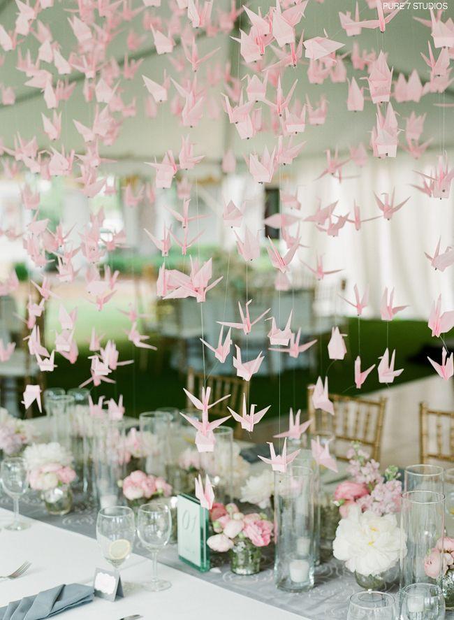 Paper Crane Decor at a Wedding / Pure 7 Studios / via StyleUnveiled.com