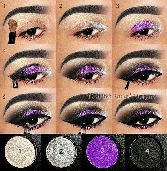 Silver/purple smokey eye
