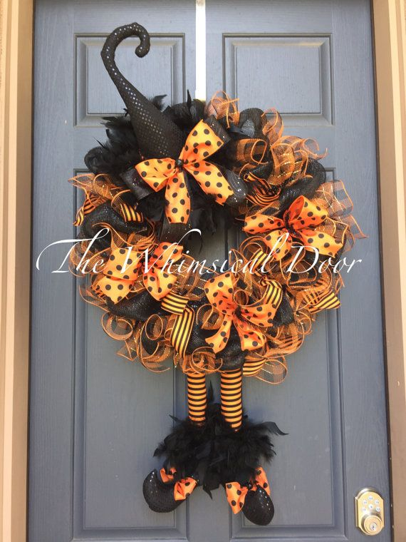 25 Unique Halloween Witch Wreath Ideas On Pinterest
