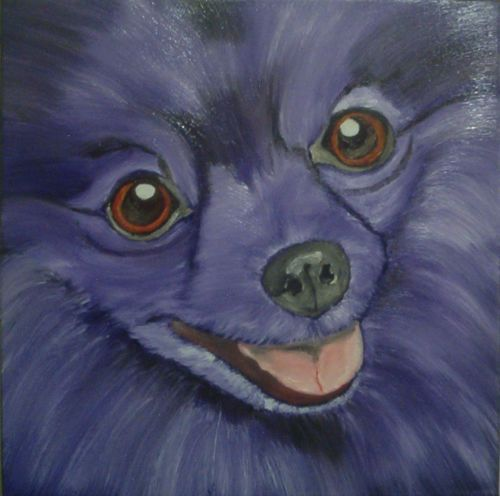 original-12x12-dog-oil-painting-of-a-violet-pomeranian-pup-close-up