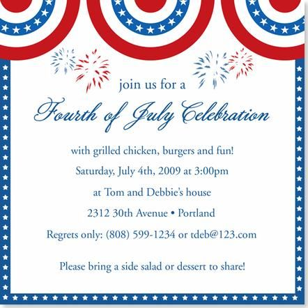fourth of july invitations patriotic party invitation red white