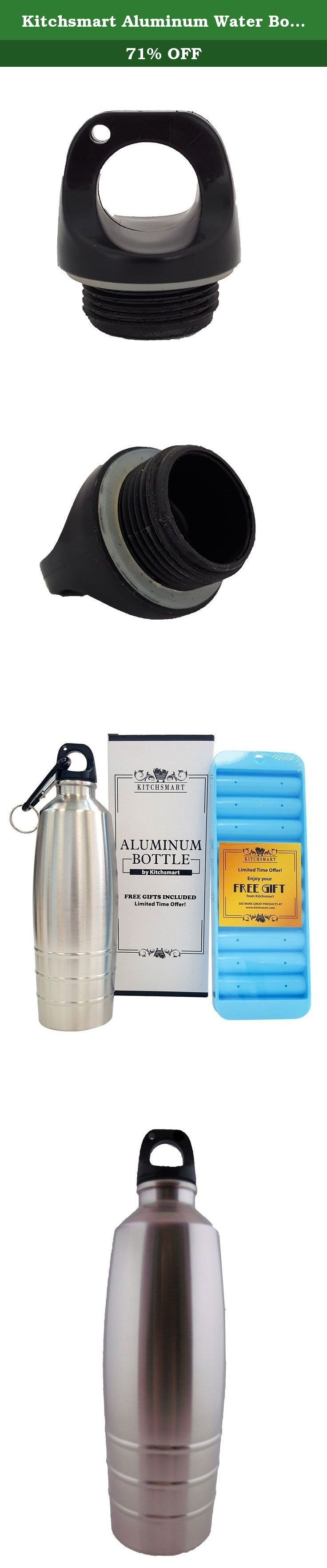 Kitchsmart Aluminum Water Bottle with Plastic Screw Lid Looped on the Top, Silver Lines, 25oz. LIMITED TIME OFFER! Get your Aluminum Bottle in a Beautiful Box with Ice Cube Sticks Tray, Clips and Special Coupon INCLUDED! A perfect gift for a special person! The Kitchsmart Aluminum Water Bottle has a convenient design that makes it easy to use and carry everywhere. It is featured with a tight sealer that will prevent any leaks, and its lightweight and the loop on the top will allow you to...