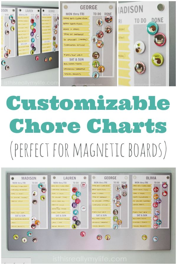 Customizable Chore Charts Perfect for Magnetic Boards