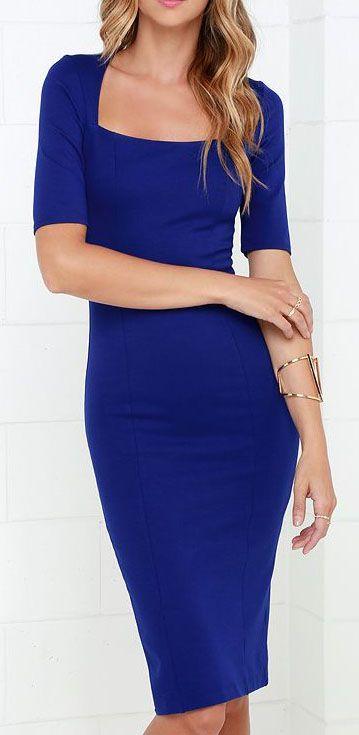 Elevated Royal Blue Bodycon Midi Dress