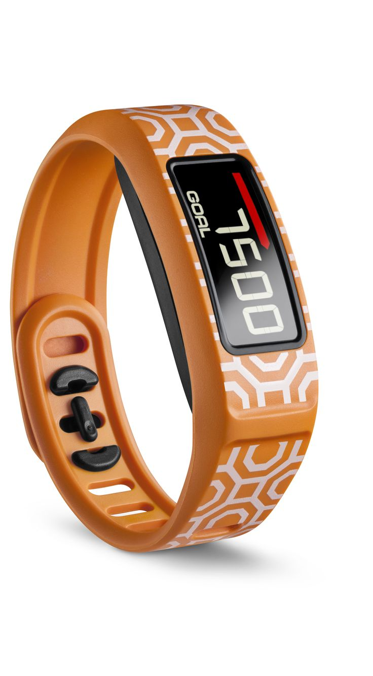 Just in time for summer. A vibrant orange vívofit 2 design is here! It's called Nixon Octagon and it can track your steps. For more information, visit Garmin.com.