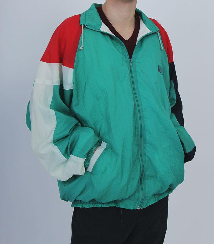 Vintage green red white dark blue windbreaker sport wear tracksuit colorful jacket nike old school adidas wear umbro hummer 90s wear mans jackets hipster fashion retro urban street